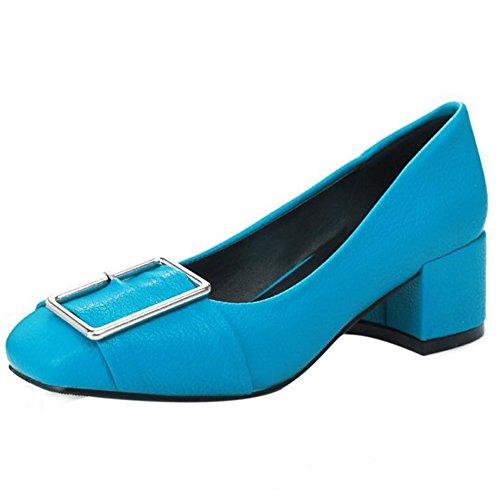 TAOFFEN Femmes Escarpins Classique Bloc A Enfiler Talons Moyen Chaussures De Boucle Bleu