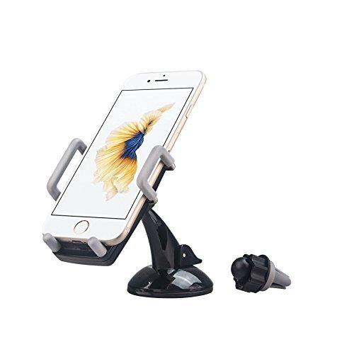 Supporto auto/Porta 3in 1–Techtodoor 3in 1universale parabrezza cruscotto e Air Vent auto Phone Holder–universale regolabile culla–parabrezza supporto con forte Sticky gel Pad per iPhone 6s/6s Plus/6/6Plus/5S/5C/se, Galaxy Note 4/3, Galaxy S5/S6/S6Edge/S7/S8Edge/Nokia/HTC/Sony/satellitare/iPod e lettore MP3