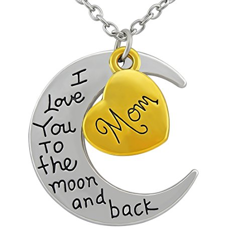 Hanessa Familien-Halskette Silber Halbmond & Herz in Gold vers. Motive (Mom, Daughter, Grandma, Sister) mit Beschriftung (I Love You to The Moon and Back) Damen-Schmuck Geschenk zu