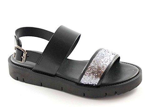 GRUNLAND MAGE SA1036 nero sandali donna fascia glitter cinturino Nero