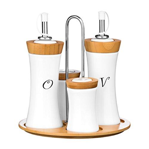 Premier Housewares - Juego de aceitera, vinagrera, salero y pimentero (cerámica y bambú), diseño cóncavo, Color Blanco
