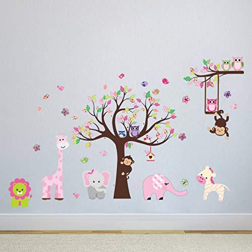 liuweidedian Abnehmbare Comic-Eule AFFE Tier Spielen Im Zoo Wandaufkleber Dekorationen Für Kinderzimmer Kinderzimmer Wandgemälde Poster 239X153Cm