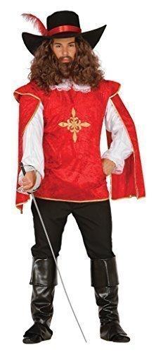 Herren Rot Musketier Mittelalterlich Französisch TV Film Buch Velvet Kostüm Kleid Outfit groß - Rot, Rot, (Mittelalterliche Kostüme Film)