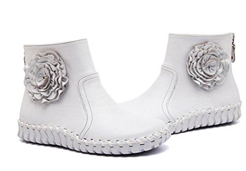 Bottes et boots Femme court confort Oxford cuir plat mocassin décontracté fleuron chaussure élégant Blanc