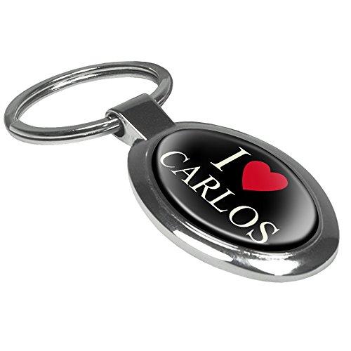 Preisvergleich Produktbild Schlüsselanhänger mit Namen Carlos - Motiv I Love - Namensschlüsselanhänger, personalisierter Anhänger, Talisman, Anhänger, Chrom