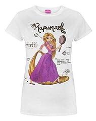 Idea Regalo - Disney - Tangled - Maglietta a Maniche Corte con Rapunzel - Donna (M) (Bianco)