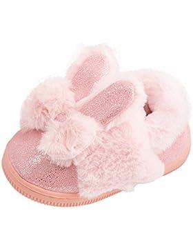Janly Nette Kleinkind-Bogen-Baby-Plüsch-weiche alleinige rutschfeste warme Samt-Schnee-Schuhe