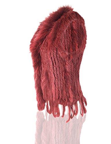 Uilor® Frauen 100% natürliche Strick Kaninchen Pelz Weste mit Waschbär Pelzkragen Wine Red