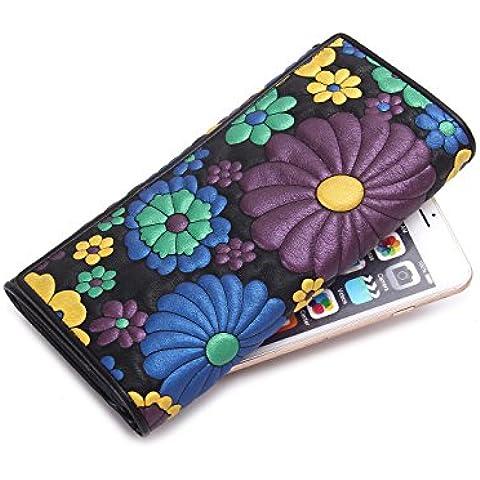 Contactos piel Floral de la mujer embrague Monederos tarjeta ID Teléfono iPhone larga cartera