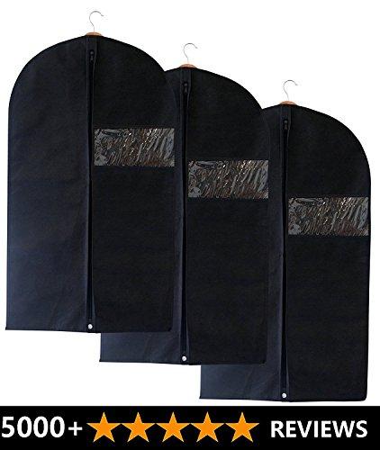 ukgood 3unidades, bolsa con bolsa de zapatos–transpirable y resistente al agua y al polvo la ropa para la ropa bolsa fundas para traje Carriers, vestidos, lencería, ropa de almacenamiento o Viaje–Bolsa para traje con ventana transparente
