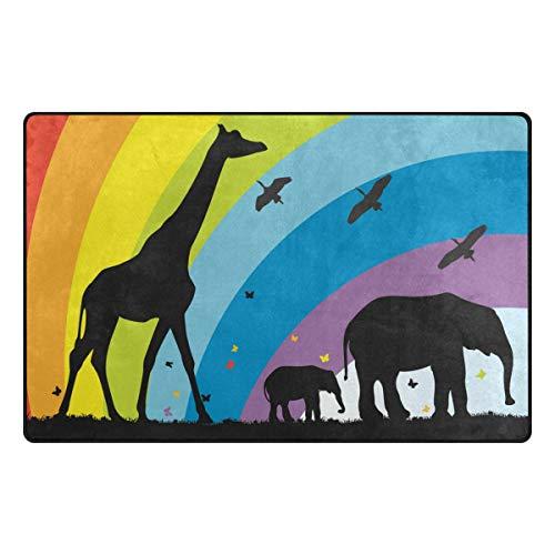 DEZIRO Fußmatte Giraffe und Elefanten in Afrika Fußmatten für Hauseingangs-Bereich Teppich Fußmatte Teppich Schuhe Schaber, Rutschfest, waschbar, Polyester, 1, 31 x 20 inch