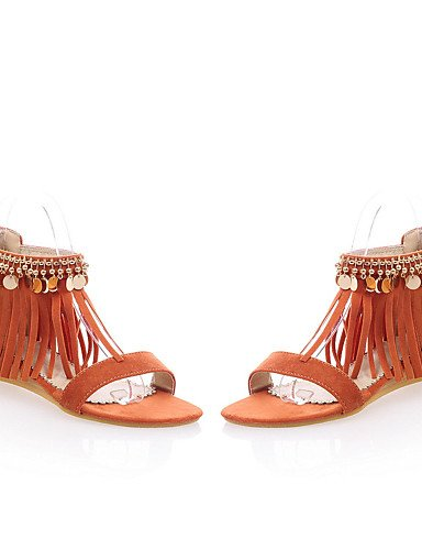 UWSZZ IL Sandali eleganti comfort Scarpe Donna-Sandali-Formale / Casual-Comoda / Aperta-Zeppa-Felpato-Giallo / Rosso / Arancione / Tessuto almond almond