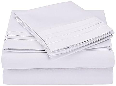 Superior - Superweiches, leichtgewichtiges, knitterfestes Bettlakenset mit 3 gestickten Linien in einer Geschenkbox, 152 x 203 cm, 100 % gebürstete Mikrofaser, weiß, 4-teilig
