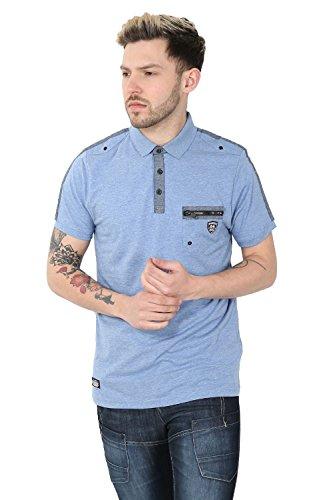 Herren Rawcraft Fergal Baumwolle Polohemd Designer Reißverschluss Tasche Piquet T-shirt Top Jeans-mergel