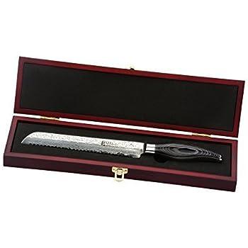 Wakoli Damastmesser (Brotmesser) japanischer Damaststahl VG-10, mit Holzverpackung, Wakoli Takko Serie
