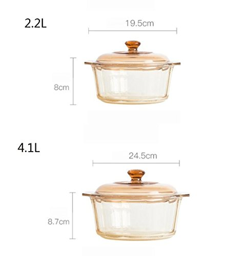DD Soup pot stew crystal diamond glass heat resistant multi-purpose pot set (2.2L+4.1L) Mother's Day Father's Day gift