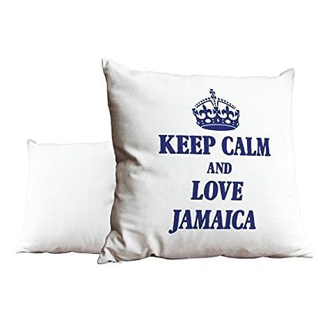 Bleu roi Keep Calm and Love Jamaica Blanc Scatter Taie d'oreiller 1971
