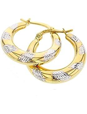 Echt Gold Damen Ohrringe in 585 Gold Creolen Bicolor 14Karat 2862