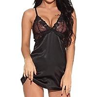 JiaMeng Lencería sexy 2018, Mujeres V Cuello camisón Sexy Satén Ropa de Dormir de Encaje Chemise Mini Teddy