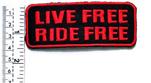 Aufnäher mit rotem Buchstaben Live Free Ride Free Funny Worts Patch Funny Motorrad MC Club Biker Biker Patch Vest/Jacke Biker Motorrad Rider Biker Tattoo Jacke T-Shirt Aufnäher Aufbügler (Thailand Kostüme Kleider)