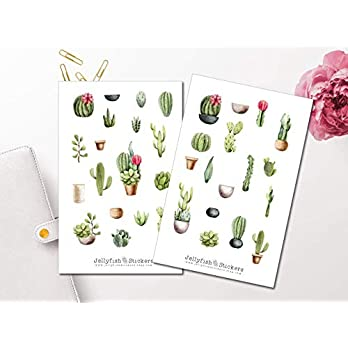 Kakteen Sticker Set | Florale Aufkleber | Journal Sticker | Planersticker | Sticker Kaktus | Sticker Pflanzen, Natur, Garten