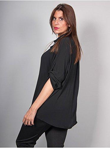 Vêtement Femme Grande Taille Chemise Crêpe Noir Noir