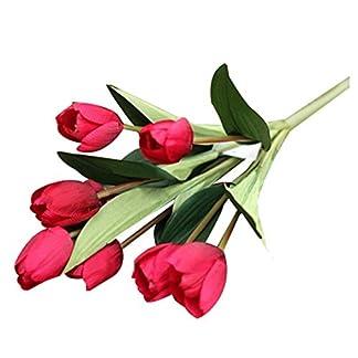 TOOGOO 1 Ramo De 9 Cabezas De TulipáN Falso Artificial De Flores De Seda Oficina De La Boda DecoracióN De La Boda MagníFico (Rojo)