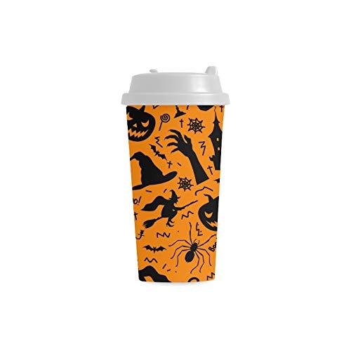 licher Halloween Schädel kundenspezifischer Druck 16 Unze Doppelwand Plastikisolierte Sportwasser Flaschen Schalen Pendler Reise Kaffeetassen für Studenten Frauen Milch Teetasse ()