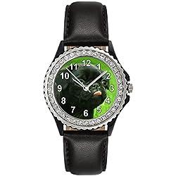 Reloj de cuero color negro para mujer con piedrecillas y carllino negro