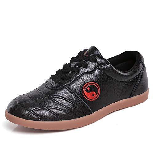 Unisex Tai Chi Wu Shu Kung Fu ScarpeTraspirante Antiscivolo Sport Palestra Sneaker per Il Giorno Formazione Esercizi mattutini Pelle Nera 37 EU