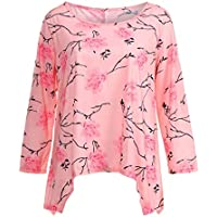 Geili Damen Langarm Roll-Up Sleeve Print Rundhals Unregelmäßiger Saum Top Regular Frauen Bluse Shirt preisvergleich bei billige-tabletten.eu