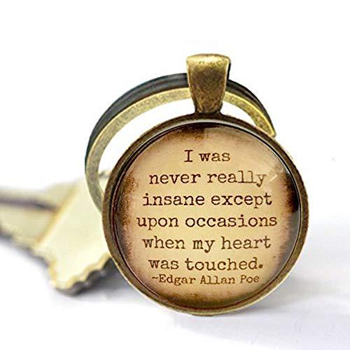 qws Edgar Allan Poe Zitat Zitat aus Glas Schlüsselanhänger mit Liebes-Zitat Gothic Love Geschenkidee