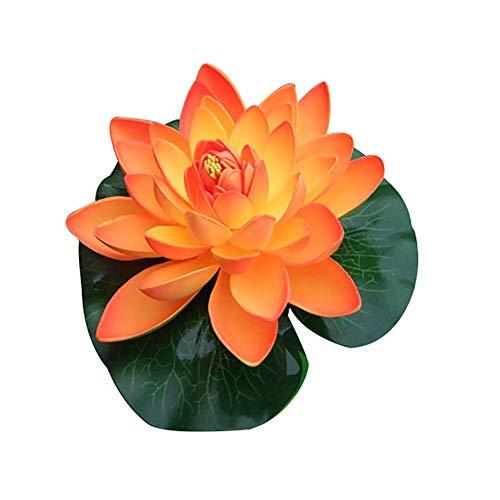 Lsgepavilion Künstliche Lotusblume Garten Teich Fake Floating Seerose Aquarium Dekoration, Orange, Einheitsgröße (Fake-aquarium)