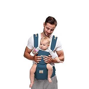 Happy Walk Mochilas portabebé Ergonómico Ajustable Marsupios Portabebé 6 en 1 Baby Carrier Ergonomico con Asiento y Transpirable para Recién Nacidos y Niños Pequeños de 0 a 4 Años (Azul Claro)