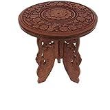 Pindia Designer Wood Folding Stool Table (21.6 cm x 21.6 cm x 24.1 cm, Brown)