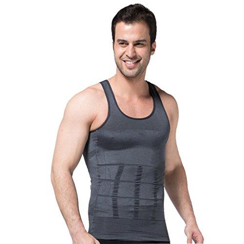 ZEROBODYS figurformendes ärmelloses Herren-T-Shirt SS-M01 (L, grau) (Bequeme Spandex Jeans)
