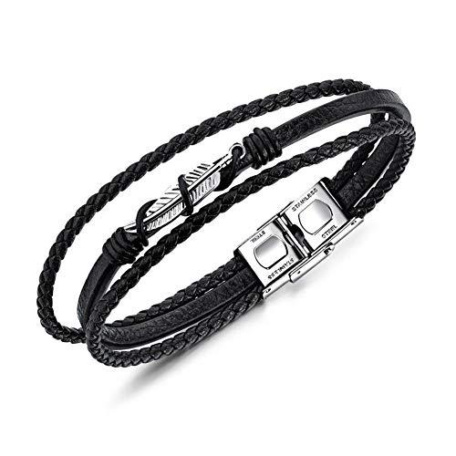 Palm Leaf Echtleder Ti Stahl gewebt Armband für Männer, Punk übertriebene Modeschmuck Persönlichkeit, Geburtstagsgeschenk für Vater & Ehemann