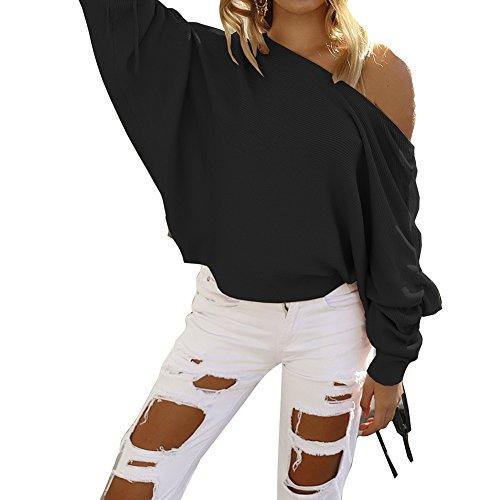 Donna Maniche Lunghe Felpa - Moda Casuale Sciolto Camicia con Spalle Scoperte Invernali Autunno Pullover a Maglia Magliette Top S-XL Nero