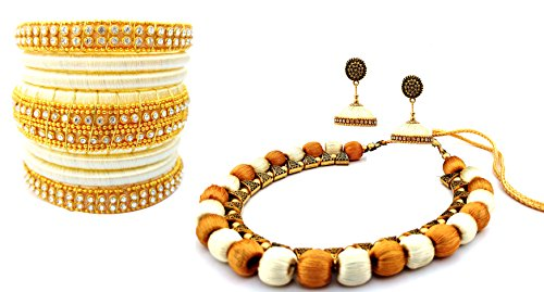 Youth Ivory - Gold Combo Silk Thread Bangle, Necklace and Earring Set