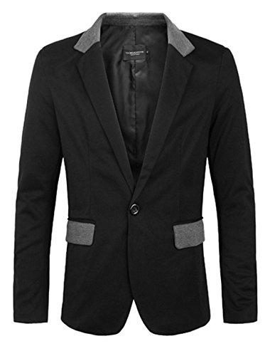 Hommes Entaillé Lapel Un Bouton Front Veste Blazer Noir