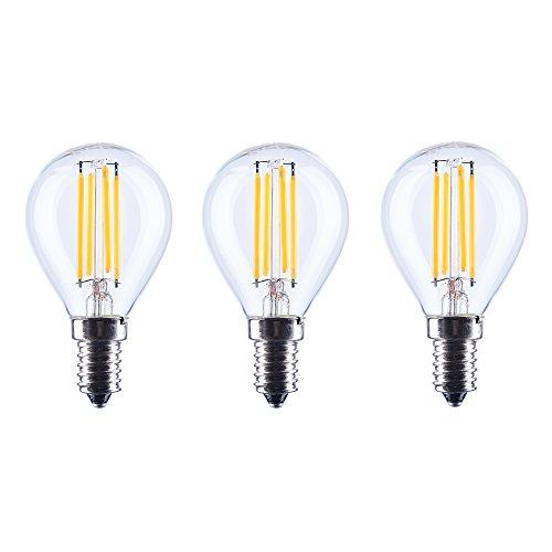 aselihgt G454W bombillas de luz LED, E14, intensidad regulable, 2700K Edison LED Bombillas de filamento, Repalce 40W bombillas incandescentes, bombilla LED G45-4W-E14, pack de 3