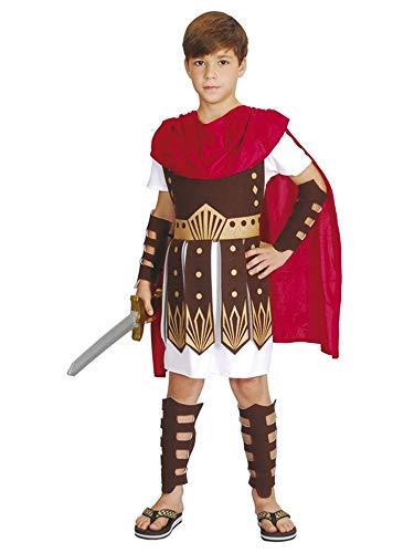 Nerd Clear Gladiator Römer Kostüm für Jungen & Mädchen |3-teilig: Tunica mit Harnisch & Umhang, Armschienen, Beinschienen | ideal für Karneval & Fasching: Größe: 10-12 ()