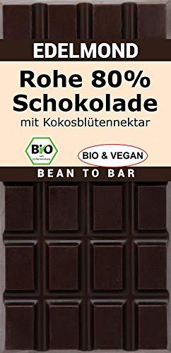 Edelmond Bio Rohe Schokolade 80{c8be5e27e47098e990a1cacaf992ed71aaa7e72f5730a33750bc8c5405c70b21}, bitter. Nur Kakaobohnen und Kokosblütennektar. Als Genuss - Geschenk ideal! Vegan und Fair-Trade (1 Tafel)