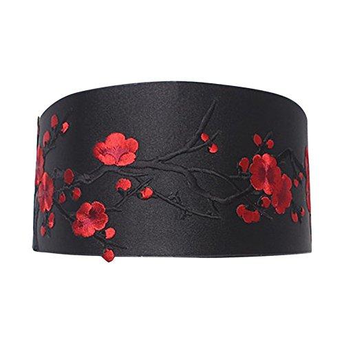 iShine Gürtel Damen Elastisch Breite PU Weich Stickerei in Blume Rot mit Bändchen Der chinesischen nationalen Stil Retro Spitze Fringe Bögen Schwarz (Damen Rotes Kleid Hose)