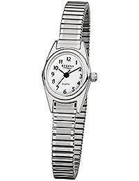 Regent Damen-Armbanduhr Elegant 0 Edelstahl-Armband silber Quarz-Uhr Ziffernblatt weiß URF262