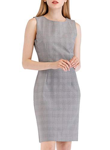 Lefancy Women's Pencil Work Office O-Neck Sleeveless Plaid Sheath Dress (UK-16/ XXL, Grey)