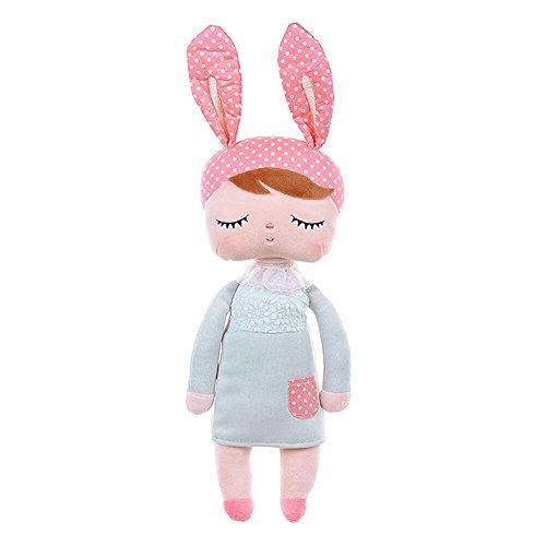 JGOO kuschelweichem Plüsch Stuffed Angela Mädchen Häschen Schlafen Baby-Puppen tragen Lace Minze Rock, Kissen-Kissen-Kind-Geschenk 13,4 (Mädchen Baby Kostüm Häschen)