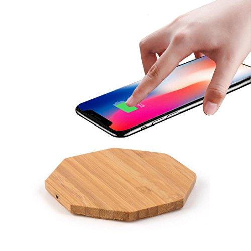 Para Iphone 8, Iphone 8 Plus, Iphone X - Sannysis cargador inalámbrico de carga rápido portable Qi wireless power cargador iphone Inalámbrico qi coche quick charge, Diseño de madera Octágono
