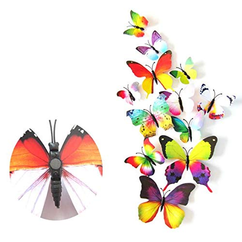 Masrin 24 stücke Aufkleber Wandaufkleber Steuern Dekorationen 3D Schmetterling Regenbogen (Mehrfarbig) - Decal Baum Laptop