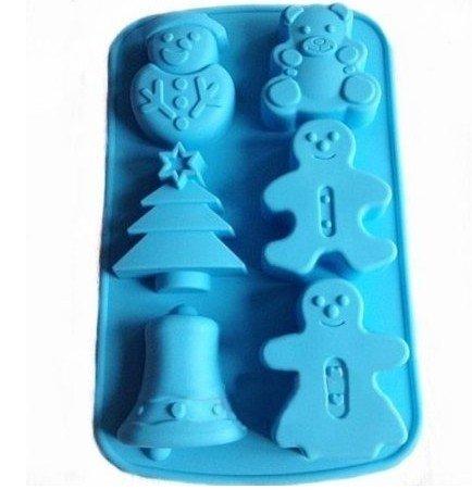 Allforhome Moule en silicone 6cavités Idéal pour confectionner des muffins/chocolats/glaçons/savons Motif bonhomme de neige/pain d'épices/arbre de Noël/cloche de Noël